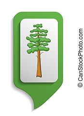 Map sign pine tree icon, cartoon style