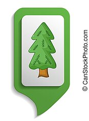 Map sign spruce tree icon, cartoon style