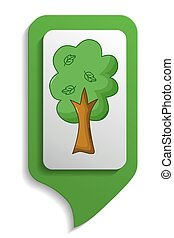 Map sign tree icon, cartoon style