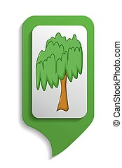 Map sign willow tree icon, cartoon style