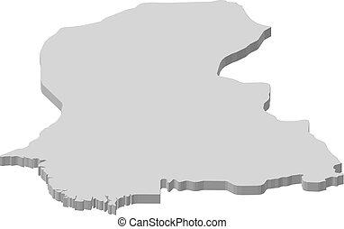 Map - Sindh (Pakistan) - 3D-Illustration