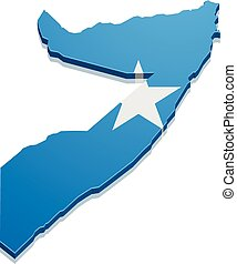 detailed illustration of a map of Somalia with flag, eps10 vector