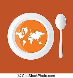 map soup - pumpkin soup with map of world