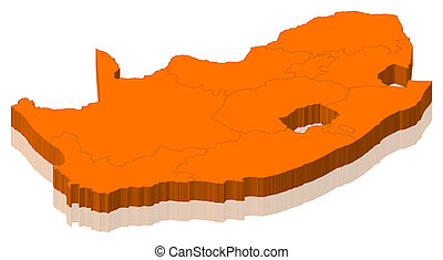 South africa map 3d shape Shape 3d of south africa map stock
