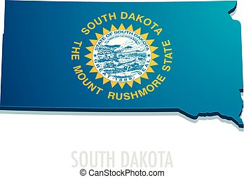 Map South Dakota - detailed illustration of a map of South...