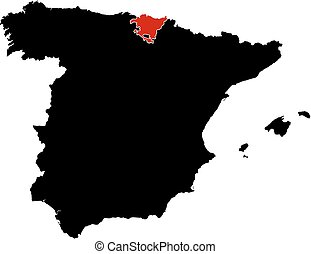 Map of Spain in black, Basque Country is highlighted in red.