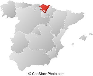 Map of Spain with the provinces, filled with a linear gradient, Basque Country is highlighted.