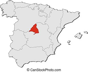 madrid karta Map   spain, madrid. Map of spain with the provinces, filled with  madrid karta