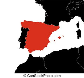 Map - Spain - Map of Spain and nearby countries in black.