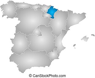 Map - Spain, Navarre - Map of Spain with the provinces,...