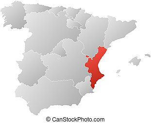 Map spain valencian community Map of spain with the vectors