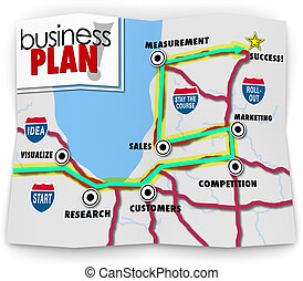 Map Start Up Success Road Directions Launch New Business...