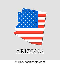 Map State of Arizona in American Flag - vector illustration.