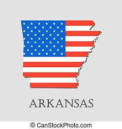 Map State of Arkansas in American Flag - vector illustration.