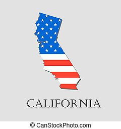Map State of California in American Flag - vector illustration.
