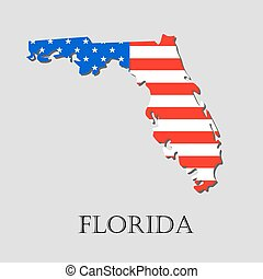 Map State of Florida in American Flag - vector illustration.