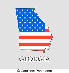 Map State of Georgia in American Flag - vector illustration.