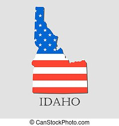 Map State of Idaho in American Flag - vector illustration.