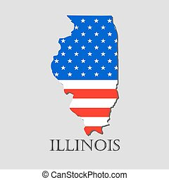 Map State of Illinois in American Flag - vector illustration.