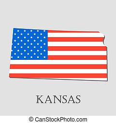 Map State of Kansas in American Flag - vector illustration.