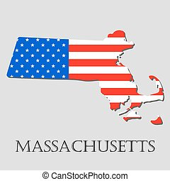Map State of Massachusetts in American Flag - vector ...