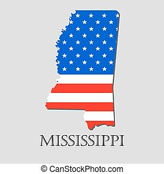Map State of Mississippi in American Flag - vector illustration.