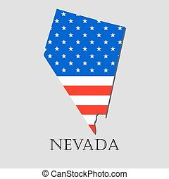 Map State of Nevada in American Flag - vector illustration.