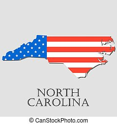 Map State of North Carolina in American Flag - vector illustration.
