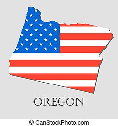 Map State of Oregon in American Flag - vector illustration....