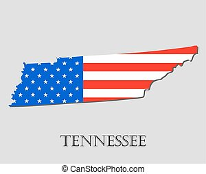 Map State of Tennessee in American Flag - vector illustration.