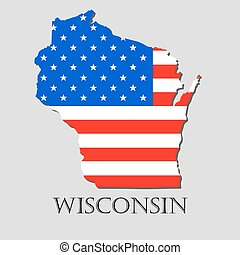 Map State of Wisconsin in American Flag - vector illustration.