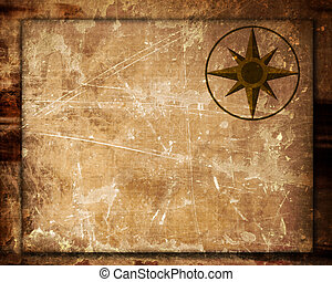 map - old blank map with a windrose on it
