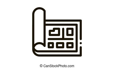 Map Street Plan Cartography Icon Animation. black Map With Buildings Location And Avenue, Geography Object animated icon on white background