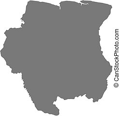 Map - Suriname - Map of Suriname as a dark area.