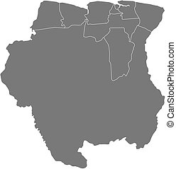 Map - Suriname - Map of Suriname as a dark area.