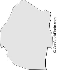 Map - Swaziland - Map of Swaziland, filled in gray.