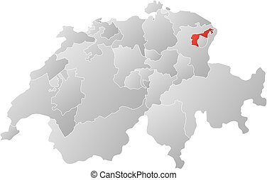 Map of swizerland, appenzell ausserrhoden highlighted. Political map ...