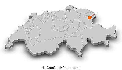 Map - Swizerland, Appenzell Innerrhoden - 3D-Illustration -...