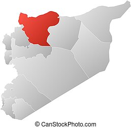 Map - Syria, Aleppo - Map of Syria with the provinces, ...