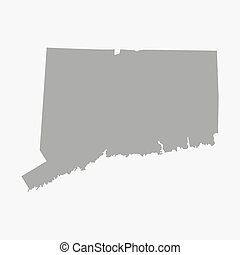 Map the State of Connecticut in gray on a white background