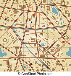 Map tile - Editable vector seamless tile of a generic city...