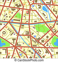 Map tile - Seamless tile of a generic city without names