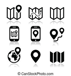 Map travel icons set - Map and navigation vector icons set...