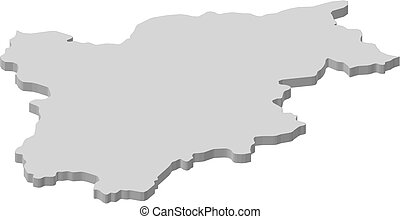 Map - Trentino-Alto Adige/Suedtirol (Italy) - 3D-Illustration