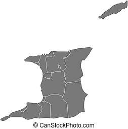 Map - Trinidad and Tobago - Map of Trinidad and Tobago as a...