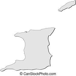 Trinidad and tobago - outline map. Outline map of trinidad ...