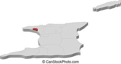 Map - Trinidad and Tobago, Port of Spain - 3D-Illustration -...