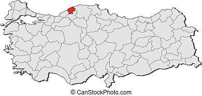 Map bartin turkey Map of bartin a province of turkey vectors