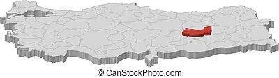 Map - Turkey, Elazig - 3D-Illustration