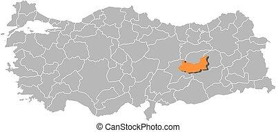 Map - Turkey, Elazig